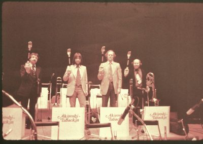 Toshiko Akyoshi Band trombone section in Japan 1976 Randy Aldcroft, Bill, Rick Culver, Phil Teele