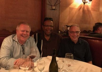 "Local 47 Executive Board and ""Trombone Subcommittee"" Andy Malloy, John Lofton, and Bill Reichenbach at Musso and Frank 7-26-17"