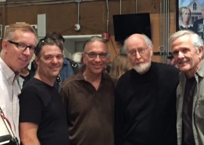 Last day of scoring Star Wars VII - Phil Keene, Jim Miller, Bill Reichenbach, John Williams, Bill Booth (Alex Iles not shown)