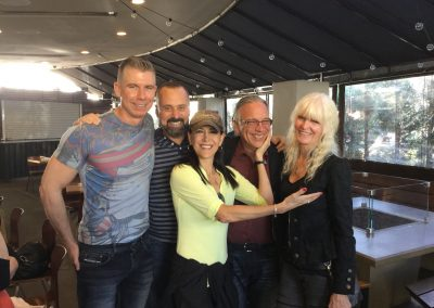 "Lunch with Stephanie Miller and ""mooks"" 2015 Travis Bone, Chris LaVoie, Stephanie Miller, Bill, Fran"
